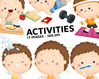 Boy Activity Clipart - Cute Kid Clip Art - Relaxing and Fun - Free SVG on Request