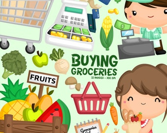 Buying Grocery Clipart - Cash Register Cashier Clip Art - Groceries Vegetables Fruits - Free SVG on Request