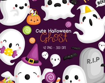 Halloween Ghost Clipart - Cute Ghost Clip Art - Holiday Event - Free SVG on Request