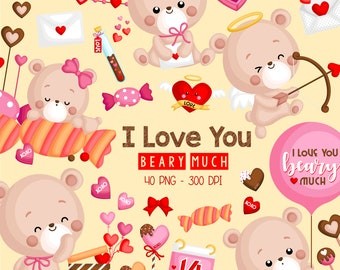 Valentine Bear Clipart - Cute Bear Clip Art - Chocolate and Candy - Free SVG on Request