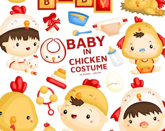 Baby in Chicken Costume - Cute Animal Clip Art - Cute Baby - Free SVG on Request