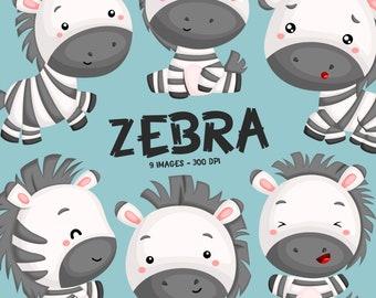 Cute Zebra Clipart - Cute Animal Clip Art - Wild Animal - Free SVG on Request