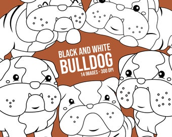Bulldog Breed Clipart - Cute Dog Clipart - Black and White - Free SVG on Request