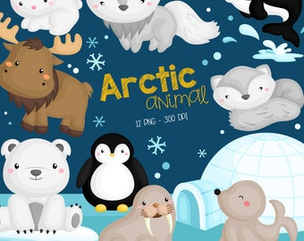 Arctic Animal Clipart - Cute Animal Clip Art - Wild Animal - Free SVG on Request