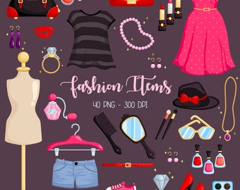 Fashion Accesories Clipart - Woman Dress Clip Art - Shoes and Accessories - Free SVG on Request