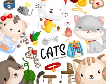 Cute Cats Clipart - Feline Animal Clip Art - Home Pet -  Free SVG on Request