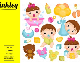 Baby Girl Clipart - Cute Babies Clip Art - Toys and Doll -  Free SVG on Request