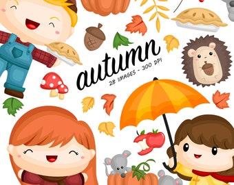 Autumn Season Clipart - Cute Kids Clip Art - Cute Animal - Free SVG on Request
