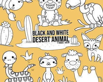 Desert Animal Clipart - Cute Animal Clip Art - Black and White - Free SVG on Request