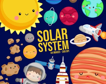 Galaxy and Space Clipart - Space and Exploration Clip Art - Solar System - Free SVG on Request