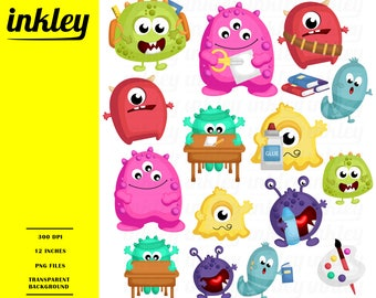 Monster and School Clipart - Cute Monster Clip Art - School and Study - Free SVG on Request