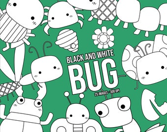 Cute Bugs Clipart - Bugs Types Clip Art - Black and White - Free SVG on Request