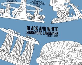 Singapore Landmark Clipart - Singapore Building Clip Art - Black and White -  Free SVG on Request