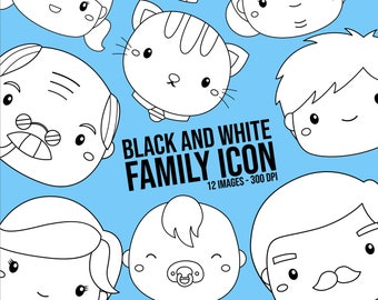 Family Icon Clipart - Cute Family Tree Clip Art - Black and White - Free SVG on Request
