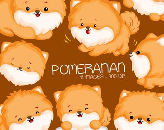 Cute Pomeranian Clipart - Dog Breed Clip Art - Cute Animal Clipart - Free SVG on Request