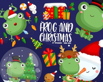 Christmas Frog Clipart - Cute Animal Clip Art - Christmas Holiday - Free SVG on Request