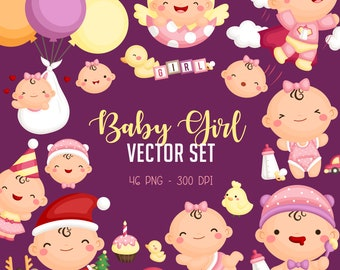 Cute Baby Girl Clipart - Cute Babies Clip Art - Baby Shower - Free SVG on Request
