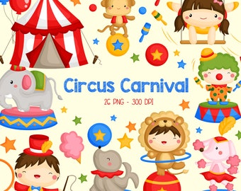 Circus Carnival Clipart - Cute Circus Animal Clip Art -Carnival Fun - Free SVG on Request
