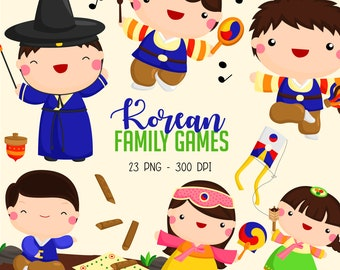 Korean Family Clipart - Culture and Tradition Clip Art - Cute Family Games - Free SVG on Request