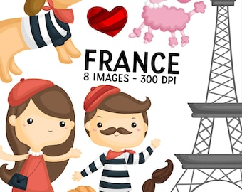 France Culture Clipart - People and Dog Clip Art - Cute Animal Clipart - Free SVG on Request