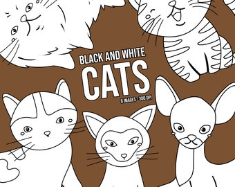 Cat Breed Clipart - Cute Animal Clip Art - Black and White - Free SVG on Request
