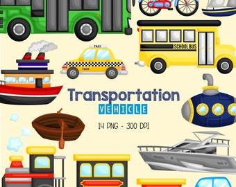 Transportation Vehicle Clipart - Land and Sea Transportation Clip Art - Free SVG on Request