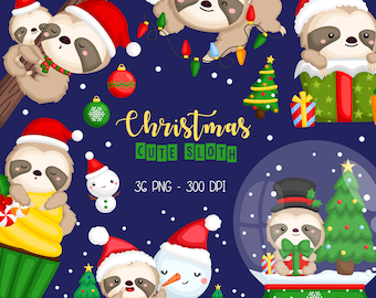Chirstmas Sloth Clipart - Chirstmas Animal Clipart - Cute Sloth - Free SVG on Request