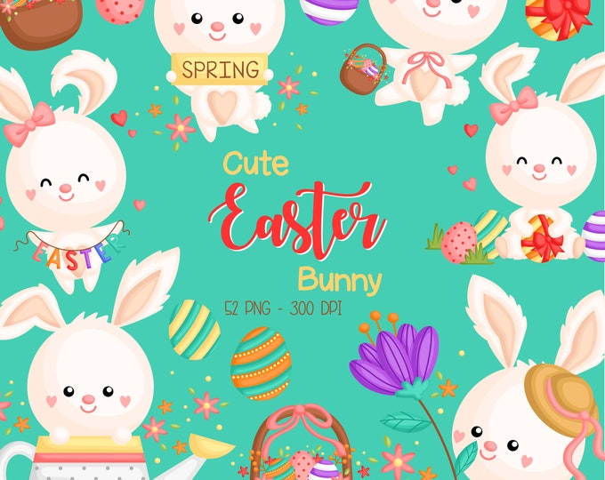 Featured listing image: Easter Rabbit Clipart - Cute Animal Clip Art - Easter Holiday - Free SVG on Request