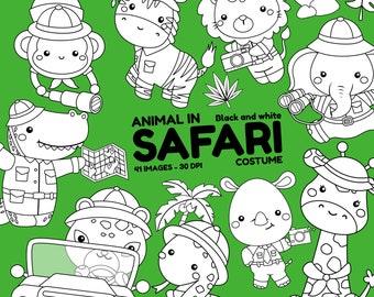 Safari Animal Clipart -  Jungle Animal Clip Art - Black and White -  Free SVG on Request