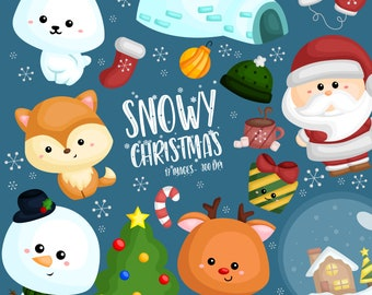 Cute Christmas Clipart - Santa Claus Clip Art - Cute Winter Animal - Free SVG on Request