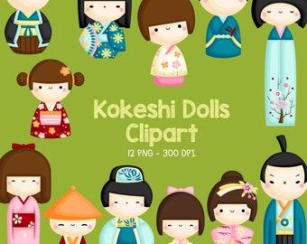 Japan Kokeshi Dolls Clipart - Culture Clip Art - Japanese Kimono - Free SVG on Request
