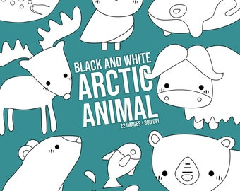 Cute Arctic Animal Clipart - North Pole Animal Clip Art - Black and White -  Free SVG on Request