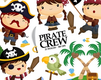 Pirate Crew Clipart - Cute Kids Clip Art - Pirate Flag - Free SVG on Request