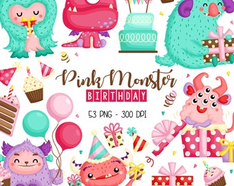 Birthday and Monster Clipart - Cute Monster Clip Art - Cute Birthday Theme - Free SVG on Request