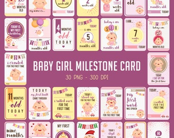 Baby Milestone Cards - Cute Baby Clipart - Baby Girl Clip Art - Free SVG on Request