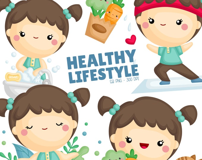 Featured listing image: Healthy Lifestyle Clipart - Yoga and Exercise Clipart - Vegetables Sticker - Free SVG on Request