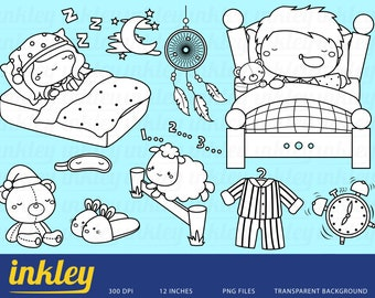 Sleeping Kids Clipart - Black and White Clip Art - Digital Stamp - Free SVG on Request