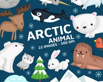 Cute Arctic Animal Clipart - North Pole Animal Clip Art - Snow and Winter -  Free SVG on Request