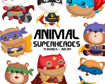 Animal Superheroes Clipart - Cute Animal in Costume - Free SVG on Request