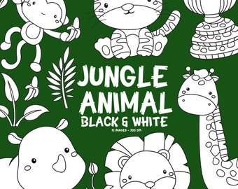 Jungle Animal Clipart - Cute Animal Clip Art - Black and White - Free SVG on Request