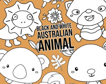 Australia Animal Clipart - Cute Animal Clip Art - Black and White- Free SVG on Request