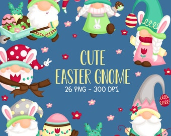 Easter Gnome Clipart - Cute Gnome with Easter Egg Clip Art - Easter Holiday - Free SVG on Request