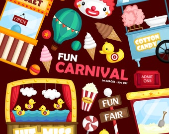 Carnival Fun Clipart - Cute Clown Clip Art - Fun at the Carnival - Free SVG on Request