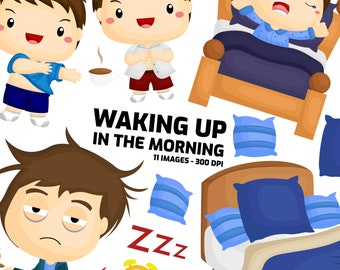 Kids Waking Up Clipart - Early Morning Clip Art - Morning Routine - Free SVG on Request