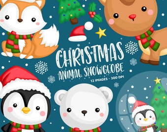 Cute Animal in Winter Clipart - Winter Animal Clip Art - Snow Globe - Free SVG on Request