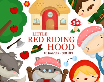 Little Red Riding Hood Clipart - Kids Story Clip Art - Fairytale - Free SVG on Request