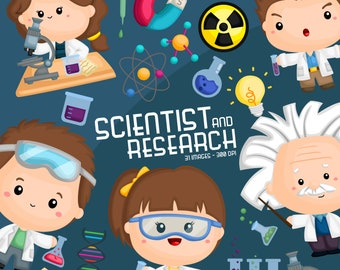 Cute Scientist Clipart -  Science and Kids Clip Art - Experiment - Free SVG on Request