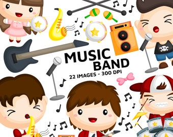 Music Band Clipart - Band Player Clip Art - Musical Instrument - Free SVG on Request