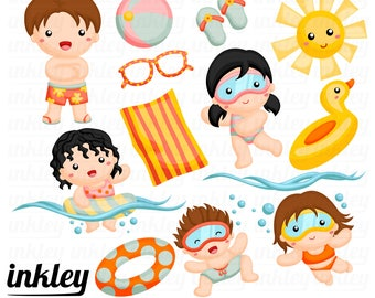 Kids Swimming Clipart - Fun in the Sun Clip Art - Pool Party - Free SVG on Request