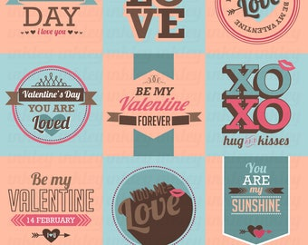 Valentine Typography Clipart - Love and Valentine Clip Art - Holiday - Free SVG on Request